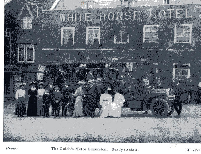 Ben Chandler's charabanc at the White Horse Hotel, Haslemere preparing for an outing. 1912