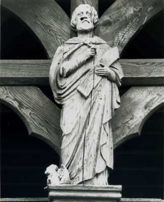 Oak Carving of St Luke Carved by Mr Forsyth